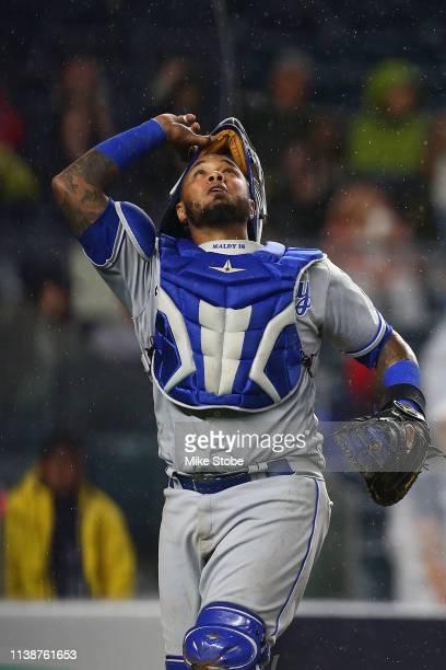 Martin Maldonado of the Kansas City Royals in action the New York Yankees at Yankee Stadium on April 19 2019 in New York City New York Yankees...
