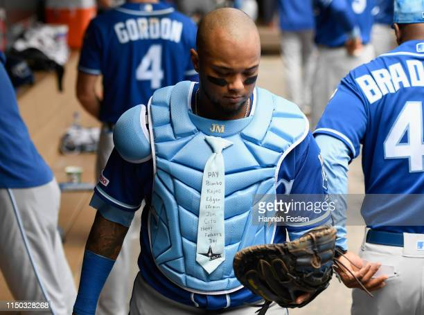 Martin Maldonado of the Kansas City Royals looks on as he heads out to catch in the second inning of the game against the Kansas City Royals on June...