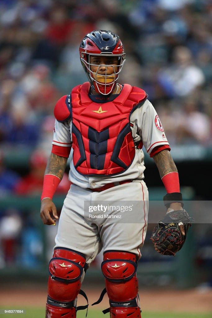 Martin Maldonado #12 of the Los Angeles Angels at Globe Life Park in Arlington on April 10, 2018 in Arlington, Texas.