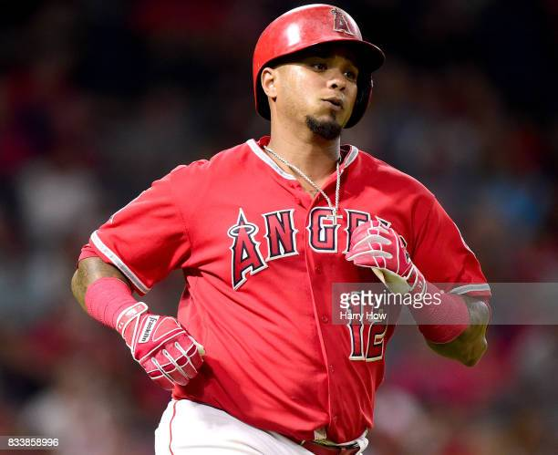Martin Maldonado of the Los Angeles Angels runs on his single during the sixth inning against the Tampa Bay Rays at Angel Stadium of Anaheim on July...