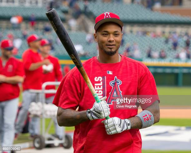 Martin Maldonado of the Los Angeles Angels warms up before a MLB game against the Detroit Tigers at Comerica Park on June 6 2017 in Detroit Michigan