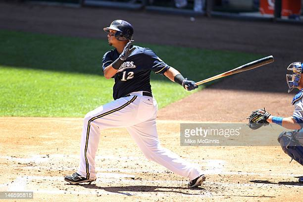 Martin Maldonado of the Milwaukee Brewers hits a two run home run in the bottom of the 2nd inning against the Toronto Blue Jays during the...