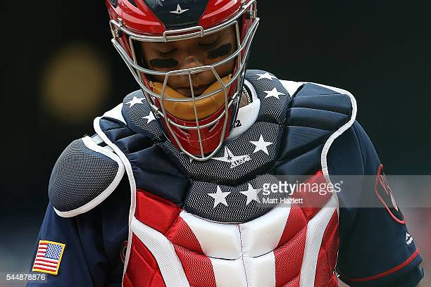 Martin Maldonado of the Milwaukee Brewers looks on in the second inning against the Washington Nationals at Nationals Park on July 4 2016 in...