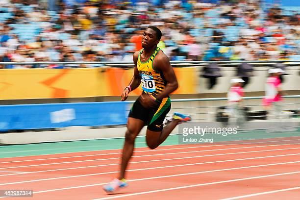 Martin Manley of Jamaica competes in the Men's 400m Final of Nanjing 2014 Summer Youth Olympic Games at the Nanjing Olympic Sports Centre on August...