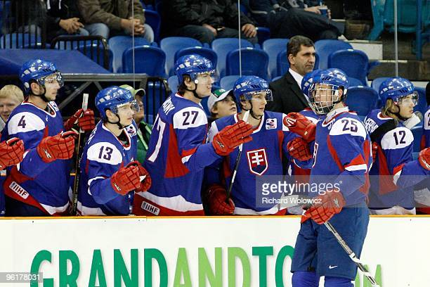 Martin Marincin of Team Slovakia celebrates a goal during the 2010 IIHF World Junior Championship Tournament Relegation game against Team Czech...
