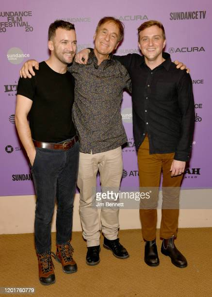 Martin Marquet Hubert Sauper and Harry Vaughn attend the Epicentro premiere during the 2020 Sundance Film Festival at Egyptian Theatre on January 24...