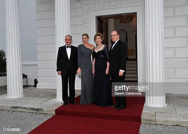 Martin McAleese, Charlene Wittstock, Irish President Mary McAleese and His Serene Highness, Prince Albert II Of Monaco attend a State Dinner at Aras...