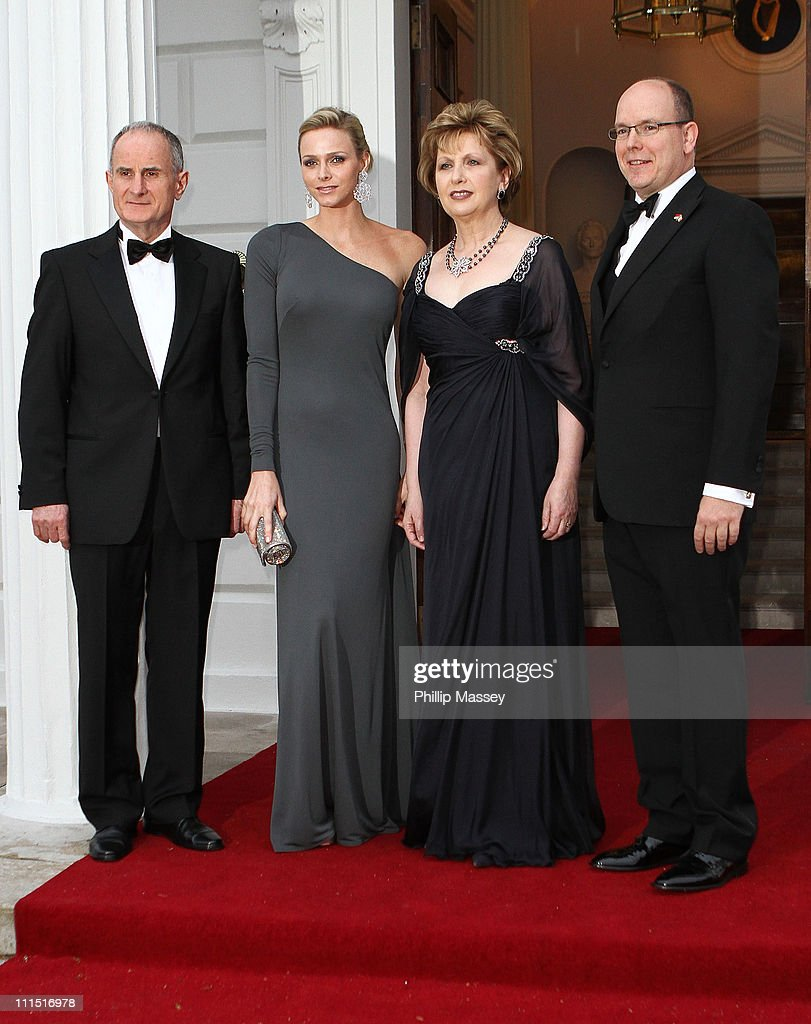 Martin McAleese, Charlene Wittstock, Irish President Mary McAleese and His Serene Highness, Prince Albert II Of Monaco attend a State Dinner at Aras an Uachtarain, the official residence of the President of Ireland during a State visit on April 4, 2011 in Dublin, Ireland.