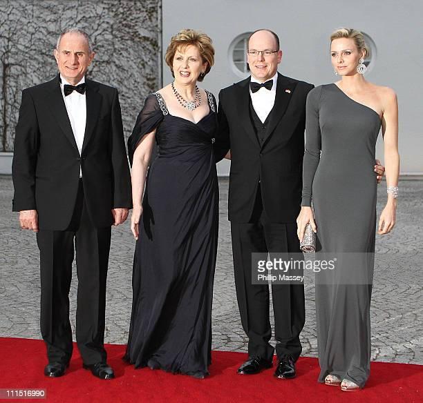 Martin McAleese, Charlene Wittstock, Irish President Mary McAleese and His Serene Highness, Prince Albert II Of Monaco attend a State Dinner at Aras...