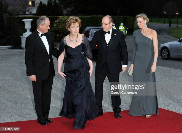 Martin McAleese, Irish President Mary McAleese, His Serene Highness, Prince Albert II Of Monaco and his fiancee Charlene Wittstock attend a State...