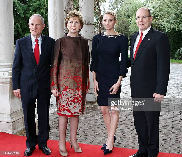 Martin McAleese, President of Ireland Mary McAleese, Charlene Wittstock and H.S.H Prince Albert II of Monaco attend a reception in Farmleigh House on...
