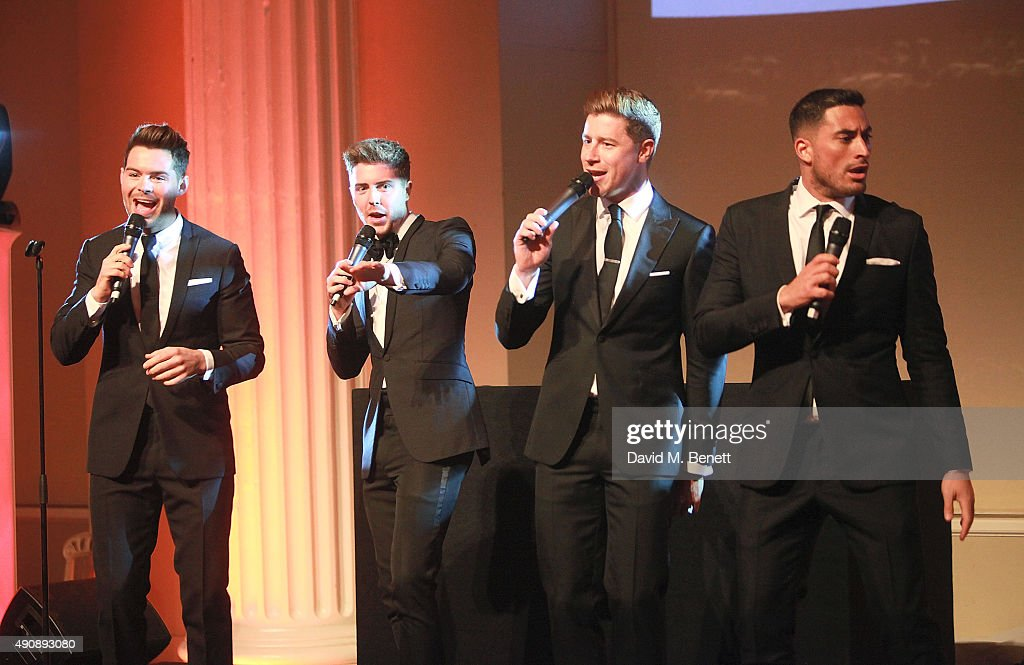 Martin McCafferty, Alfie Palmer, Andrew Bourn and Sean Ryder Wolf attend a fundraising event in aid of the Nepal Youth Foundation hosted by David Walliams at Banqueting House on October 1, 2015 in London, England.
