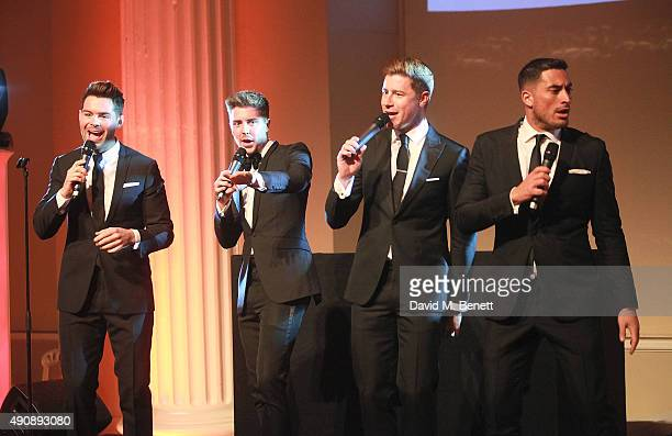 Martin McCafferty Alfie Palmer Andrew Bourn and Sean Ryder Wolf attend a fundraising event in aid of the Nepal Youth Foundation hosted by David...