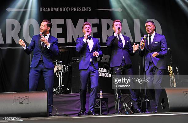 Martin McCafferty Alfie Palmer Andrew Bourn and Sean Ryder Wolf of Jack Pack perform on stage at Kew Gardens on July 8 2015 in London England