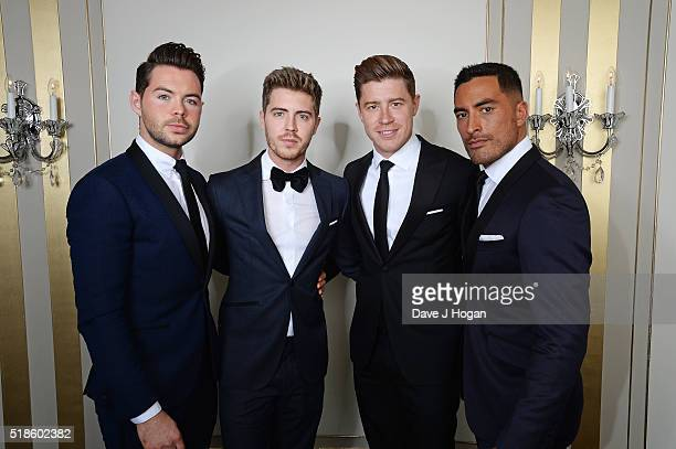 Martin McCafferty Alfie Palmer Andrew Bourn and Sean Ryder Wolf of Jack Pack attend The Shooting Star Chase Ball at The Dorchester on October 3 2015...