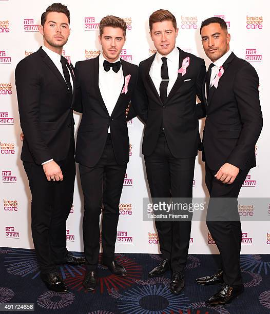 Martin McCafferty Alfie Palmer Andrew Bourne and Sean Ryder Wolf of Jack Pack attend Breast Cancer Care's London fashion show at Grosvenor House...