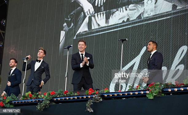 Martin McCaffertyAlfie PalmerAndrew Bourn and Sean Ryder Wolf of Jack Pack perform on stage at BBC Proms in the Park at Hyde Park on September 12...
