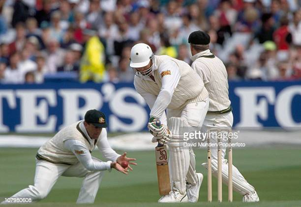 Martin McCague of England is out caught by Mark Taylor off the bowling of Shane Warne for 0 during the 4th Test match between England and Australia...