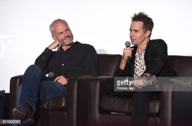 Martin McDonagh and Sam Rockwell speak onstage during 'In Conversation Martin McDonagh And Sam Rockwell' at AFI FEST 2017 Presented By Audi at TCL...