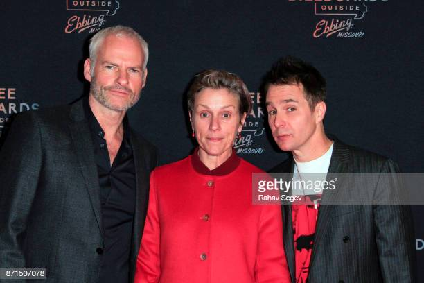 Martin McDonagh Frances McDormand and Sam Rockwell attend the premiere of Three Billboards Outside Ebbing Missouri at BAM on November 7 2017 in New...