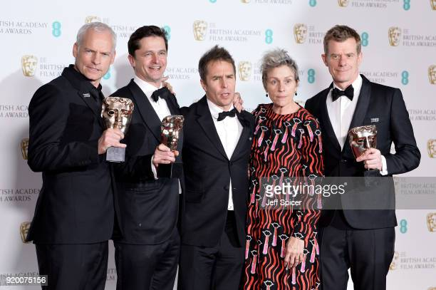 Martin McDonagh Pete Czernin and Graham Broadbent winners of the Outstanding British Film award Sam Rockwell winnerof the Best Supporting Actor award...