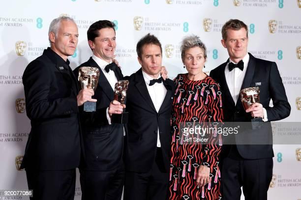 Martin McDonagh Pete Czernin and Graham Broadbent winners of the Outstanding British Film award Sam Rockwell winnerof the Best Supporting Actor award...