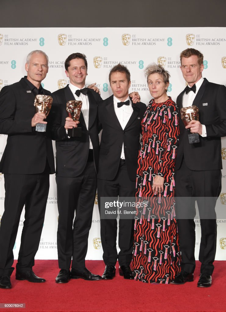 Martin McDonagh, Peter Czernin, Sam Rockwell, Frances McDormand and Graham Broadbent, accepting the Best Film award for 'Three Billboards Outside Ebbing, Missouri', pose in the press room during the EE British Academy Film Awards (BAFTA) held at Royal Albert Hall on February 18, 2018 in London, England.