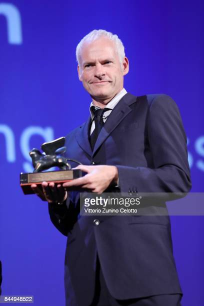 Martin McDonagh receives the Best Screenplay Award for 'Three Billboards Outside Ebbing Missouri' during the Award Ceremony of the 74th Venice Film...