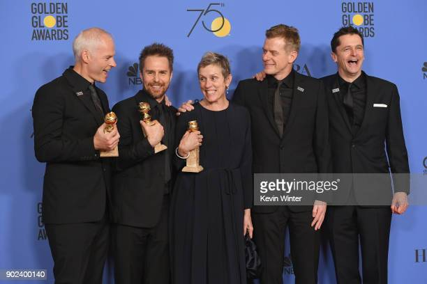 Martin McDonagh Sam Rockwell Frances McDormand Graham Broadbent and Peter Czernin pose with the award for Best Motion Picture Drama for 'Three...