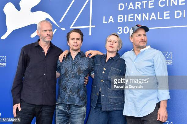 Martin McDonagh Sam Rockwell Woody Harrelson and Frances McDormand attend the 'Three Billboards Outside Ebbing Missouri ' photocall during the 74th...