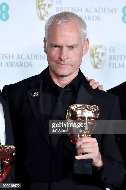 Martin McDonagh winner of the Outstanding British Film award for the movie 'Three Billboards Outside Ebbing Missouri' poses in the press room during...