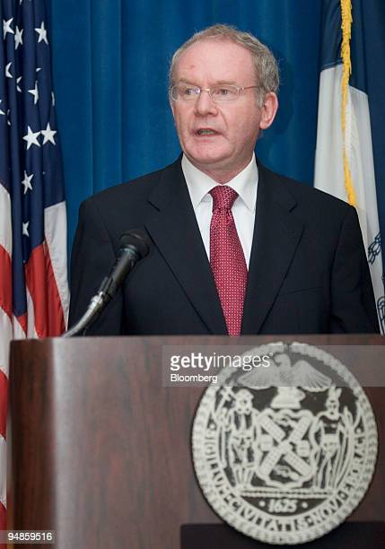 Martin McGuinness, Northern Ireland's deputy first minister, makes an address at a news conference in New York, U.S., on Friday, April 11, 2008....