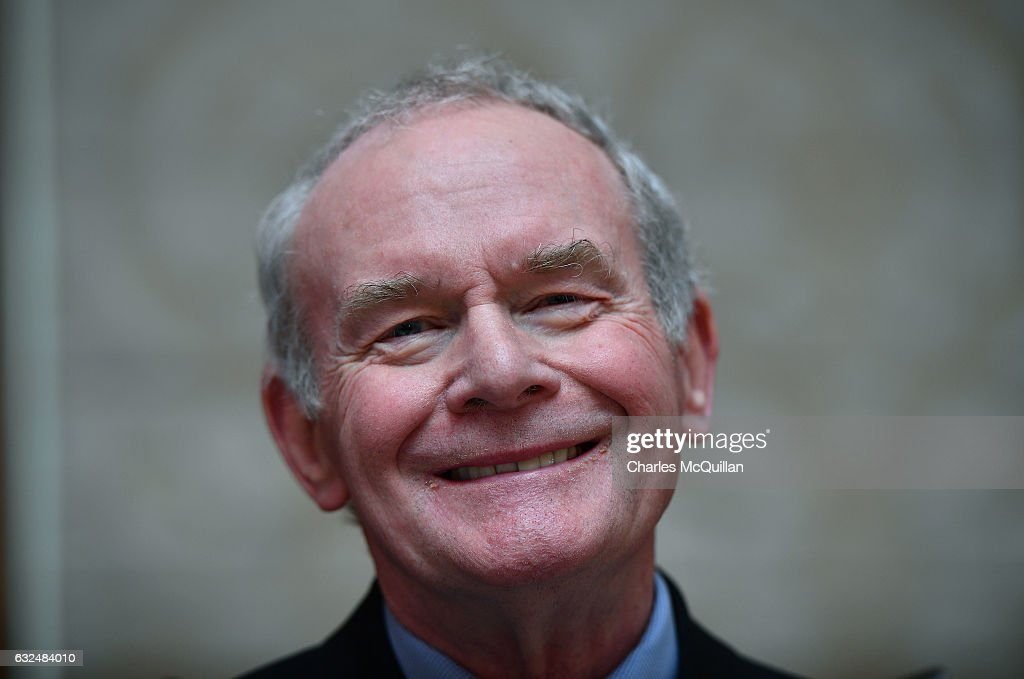 Martin McGuinness pictured at Michelle O'Neill's press conference confirming her as the new Sinn Fein leader in the north on January 23, 2017 in Belfast, Northern Ireland. Former Northern Ireland deputy First Minister Martin McGuinness stepped down from his role as Sinn Fein leader in the north recently due to the ongoing Renewable Heat Scheme crisis and also due to ill health.