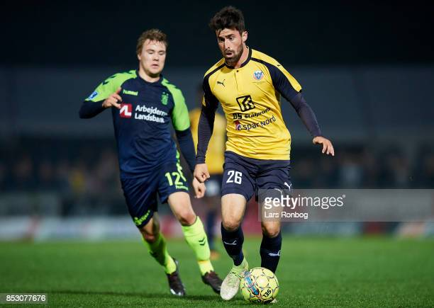 Martin Mikkelsen of Hobro IK and Simon Tibbling of Brondby IF compete for the ball during the Danish Alka Superliga match between Hobro IK and...