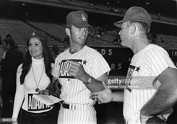 Martin Milner and Kent McCord costars of the hit 1970's TV show Adam 12 discuss tactics before a charity baseball game against real cops on September...