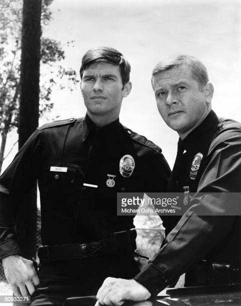 Martin Milner and Kent McCord costars of the hit 1970's TV show Adam 12 in a scene from the third season opener in 1970 in Los Angeles California