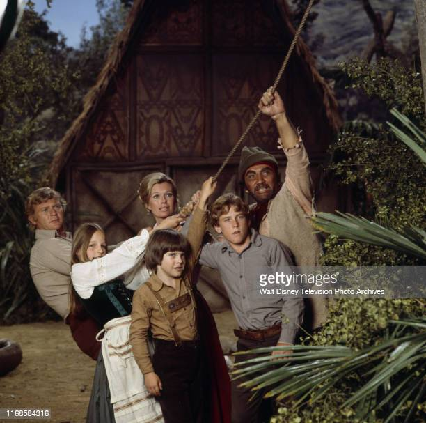 Martin Milner Pat Delany Cameron Mitchell Helen Hunt Eric Olson Willie Aames appearing in the ABC tv series 'Swiss Family Robinson'
