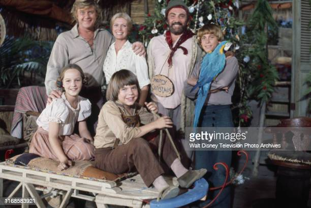 Martin Milner Pat Delany Cameron Mitchell Willie Aames Helen Hunt Eric Olson promotional photo for the ABC tv series 'Swiss Family Robinson'