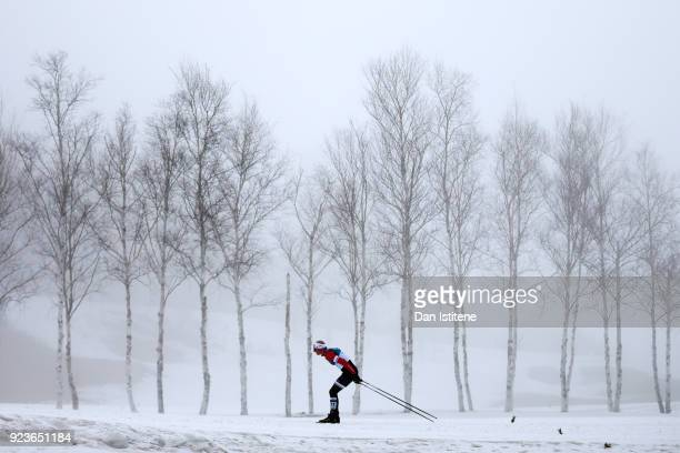 Martin Moeller of Denmark competes during the Men's 50km Mass Start Classic on day 15 of the PyeongChang 2018 Winter Olympic Games at Alpensia...