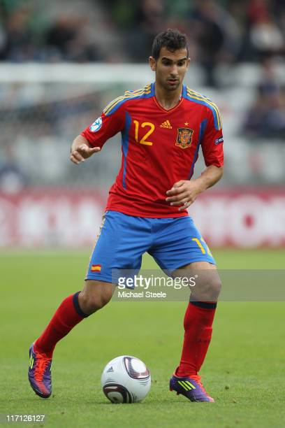 Martin Montoya of Spain during the UEFA European Under21 Championship semifinal match between Belarus and Spain at the Viborg Stadium on June 22 2011...