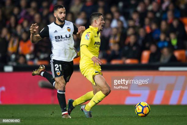 Martin Montoya Pablo Fornals during the match between Valencia CF against Villarreal CF week 17 of La Liga 2017/18 at Mestalla stadium Valencia SPAIN...