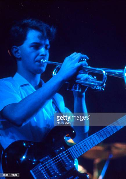 Martin Moscrop of A Certain Ratio performs on stage at the Lyceum on 29th February 1980 in London