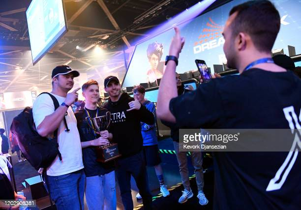 Martin MrSavage Foss Andersen a player for 100 Thieves poses with fans after winning DreamHack Anaheim featuring Fortnite during DreamHack Anaheim...