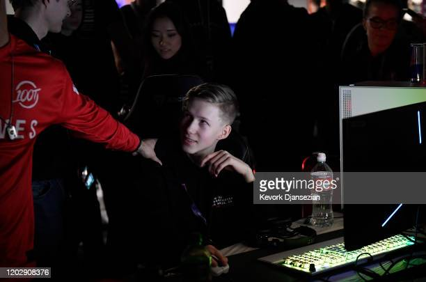 Martin MrSavage Foss Andersen a player for 100 Thieves reacts after winning during DreamHack Anaheim featuring Fortnite competition during DreamHack...