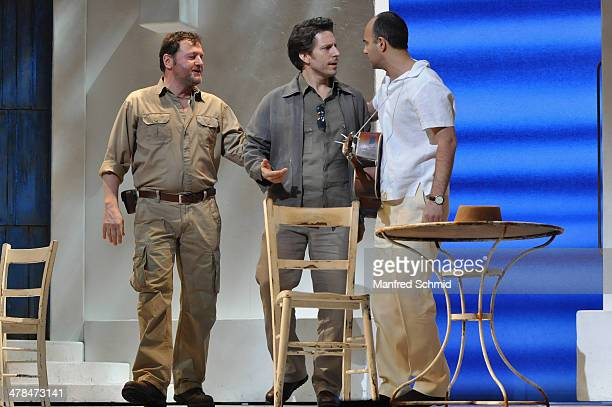 Martin Muliar Boris Pfeiffer and Ramin Dustdar perform on stage during the 'Mama Mia' musical rehearsal at Raimund Theater on March 13 2014 in Vienna...
