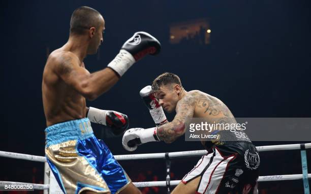 Martin Murray and Arman Torosyan trade punches during the WBSS Super Middleweight Substitute fight at Echo Arena on September 16 2017 in Liverpool...