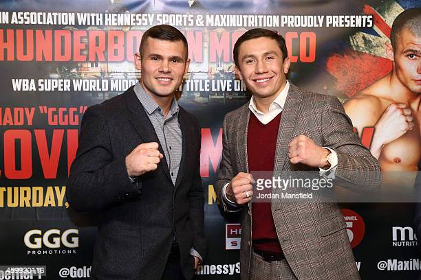 Martin Murray and Gennady Golovkin pose for a photo during the press conference for the upcoming fight between Martin Murray and Gennady Golovkin on...
