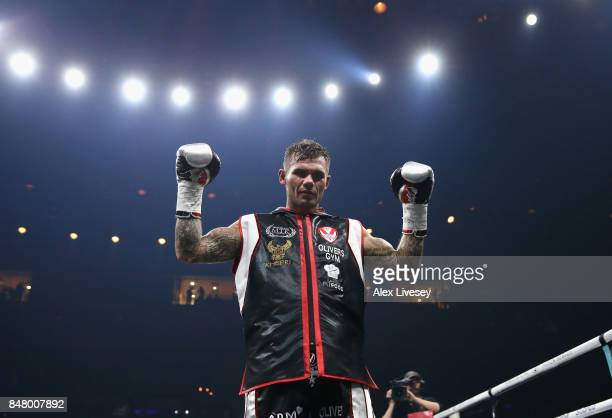 Martin Murray celebrates victory over Arman Torosyan after the WBSS Super Middleweight Substitute fight at Echo Arena on September 16 2017 in...