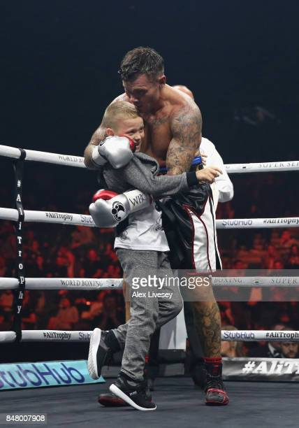 Martin Murray celebrates victory over Arman Torosyan with his son after the WBSS Super Middleweight Substitute fight at Echo Arena on September 16...