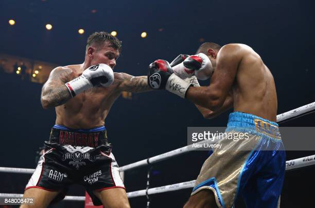 Martin Murray lands a left shot on Arman Torosyan during the WBSS Super Middleweight Substitute fight at Echo Arena on September 16 2017 in Liverpool...